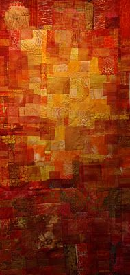 """Red Glow"" ~ A Printed Quilt by Cynthia St. Watercolor Quilt, Contemporary Quilts, Quilt Modern, Church Banners, Textile Fiber Art, Sunset Colors, Dog Blanket, Orange, Yellow"
