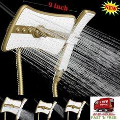 3 Way 4 Setting Gold Shower 2 Head 9 Inch Waterfall Mist Massage Jets Wand Combo #AKDY