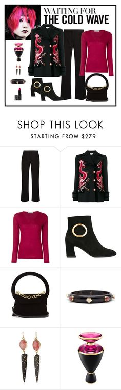 """""""Gucci Dragon Embroidered Coat Look"""" by romaboots-1 ❤ liked on Polyvore featuring Altuzarra, Gucci, Le Tricot Perugia, Roger Vivier, Jacquemus, Ashley Pittman, Bulgari and NARS Cosmetics"""