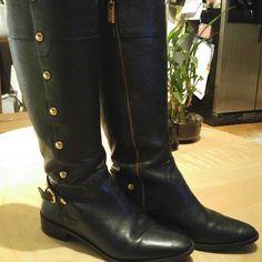 Michael Kors black leather riding boots Michael Kors black leather riding boots with gold studs Michael Kors Shoes Combat & Moto Boots
