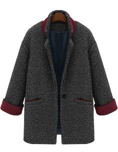 Grey Long Sleeve Single Button Pockets Coat - Sheinside.com