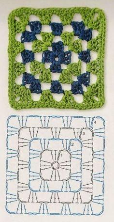 Transcendent Crochet a Solid Granny Square Ideas. Wonderful Crochet a Solid Granny Square Ideas That You Would Love. Crochet Granny Square Beginner, Crochet Motifs, Granny Square Crochet Pattern, Afghan Crochet Patterns, Crochet Chart, Crochet Squares, Knitting Patterns, Granny Squares, Crochet Gratis