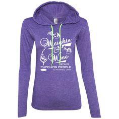 Weights and Wine Ladies Longsleeve Hoodie Hoodies, Sweatshirts, Workout Gear, Weights, Graphic Sweatshirt, Wine, Lady, Long Sleeve, Fitness