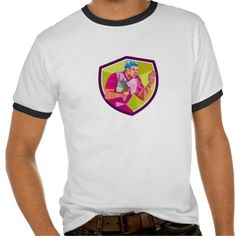 Rugby Player Fend Off Low Polygon T Shirts. Low polygon style illustration of rugby union player with ball fending running set inside shield crest on isolated background. #Lowpolygon #RugbyPlayerFendOff #rwc #rwc2015 #rugbyworldcup