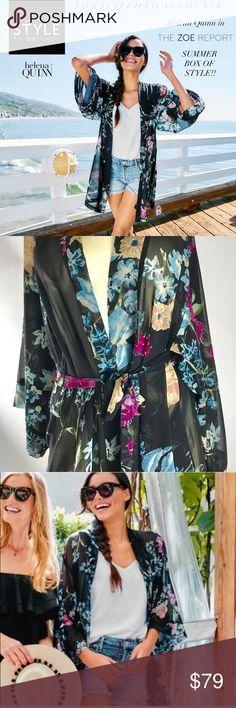 Helena Quinn Floral Custom Kimono Cardigan M Helena Quinn Floral Custom Kimono Cardigan Cover Up  $120 Rachel Zoe Box of Style M Length 35'' Helena Quinn Tops Tunics