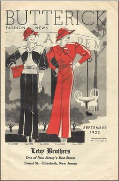 Butterick Fashion News, September 1933 featuring Butterick 5265 (frock), 5274 (bag), 5256 (hats), 5249 (frock) and 5225 (gloves)