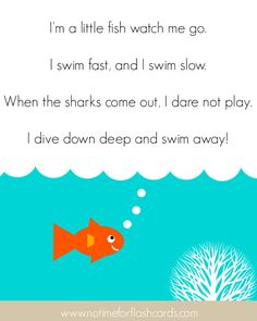 "Fish Song for Preschool Song, ""I'm a Little Fish"" (Tune: ""I'm a Little Teapot""; from No Time for Flash Cards)Song, ""I'm a Little Fish"" (Tune: ""I'm a Little Teapot""; from No Time for Flash Cards) Preschool Poems, Preschool Music, Preschool Activities, Pet Theme Preschool, Kindergarten Poems, Vocabulary Activities, Songs For Toddlers, Kids Songs, Songs For Children"