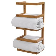Four-tier bamboo wall-mount towel rack.  Product: Towel rackConstruction Material: BambooColor: ...