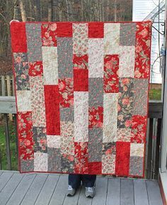Simple quilt made with 9 fat quarters from: Sew Lux Fabric : Blog: Tifton Tiles Quilt Tutorial