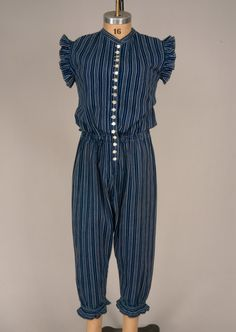 Blue & White Striped Exercise Suit, France, 1890s