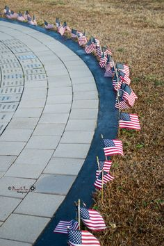 Miniature Flags along the World Trade Center Tribute in Havelock, NC