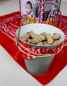 Peanut bucket & with Burlap *** NUTS (& BOLTS) label