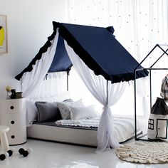 - Petite Maison's Kids House bed – Frill canopy series – Navy – Super cute & lovely house bed - Toddler Bedroom Sets, Baby Bedroom, Boys Room Design, Kids Bedroom Designs, House Beds For Kids, Kid Beds, Kids Bed Canopy, Diy Kids Furniture, Cool Kids Rooms