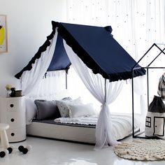 - Petite Maison's Kids House bed – Frill canopy series – Navy – Super cute & lovely house bed - Kids Bed Canopy, Canopy Bed Frame, House Beds For Kids, Kid Beds, Toddler Bedroom Sets, Kids Bedroom, Diy Kids Furniture, Boys Room Design, Cool Kids Rooms