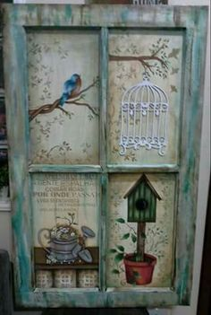 Painting On Wood Ideas Old Windows Ideas Old Windows Painted, Vintage Windows, Old Window Projects, Diy Projects, Wood Crafts, Diy And Crafts, Decoupage, Window Art, Window Frames