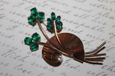 Fabulous 40's Coro Sterling Craft Green and gold toned 3 Leaf Clover Brooch/Pin by ThePickerGirl on Etsy https://www.etsy.com/listing/127973816/fabulous-40s-coro-sterling-craft-green