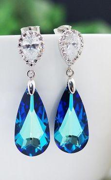 Bermuda blue swarovski crystal earrings. Gorgeous!