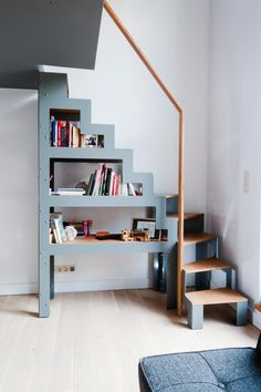 DIY Tiny House Storage And Organization Ideas On A Budget – Vanchitecture Modular Staircase, Small Staircase, Loft Staircase, Tiny House Stairs, Staircase Design, Spiral Staircases, Stairs To Mezzanine Floor, Modern Staircase, Mezzanine Loft
