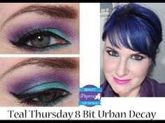 Get Ready With Me 8 Bit and Urban Decay via @Phyrra #purple #teal #blue #makeup #tutorial