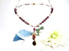 Upcycled Pendant Necklace Amethyst and Rose Crystal
