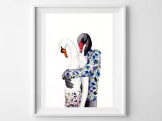 Swan art print-valentines day gift-animals in clothes- black and white swan watercolor art print-dressed fur-animal fashion illustration by DressedFur on Etsy