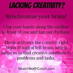 Lacking Creativity? Synchronize your brain!  www.musichealthcoach.com