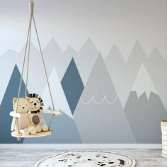 Bowdly - Graphic Mountains Hygge Wallpaper Mural