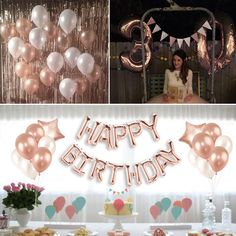 Happy Birthday Balloon Banner, Birthday Balloons, Letter Balloons, Foil Balloons, Ballon Banner, Rose Gold Balloons, Hand Embroidery Designs, Front Door Decor, Bohemian Decor