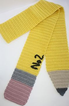 Pencil Scarf pattern by Shelley Brown This free crochet pattern scarf would make the perfect gift for a special teacher or even just for yourself! Crochet Kids Scarf, Crochet Scarves, Crochet For Kids, Crochet Yarn, Crochet Clothes, Crochet Gifts, Cute Crochet, Loom Knitting, Knitting Machine