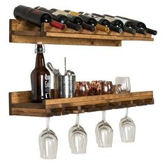 Store you wine and stemware in style with this tiered wine and glass rack. The bottle rack is designed to hold 8 bottles laying down while the glass rack boasts enough space for up to 21 standard wine glasses. Add your pictures and decor to the shelf Wine Glass Shelf, Wine Shelves, Wine Glass Rack, Wood Wine Racks, Wine Rack Wall, Wine Storage, Glass Shelves, Diy Wine Racks, Wall Mounted Wine Racks