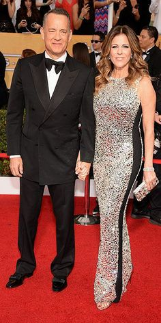 Tom Hanks and Rita Wilson arriving at the 2014 SAG Awards.