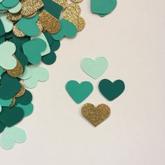 Green and gold wedding confetti, for favors or table top decoration