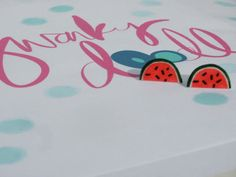 pink and green novelty watermelon stud earrings