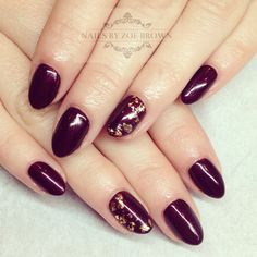 Gold leaf nail art, CND shellac, dark lava