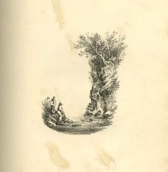 Series of 26 landscape scenes shaped as letters of the alphabet; rebound in a 20th-century binding. Letter J: bottom curve formed of a lake with two fishermen standing on the left, right outline shaped by a rock with small waterfalls and surmounted with trees stretching to the left.