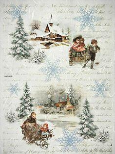 Christmas Decoupage, Christmas Paper, Christmas Crafts, Christmas Gift Tags Printable, Free Christmas Printables, Vintage Christmas Images, Christmas Pictures, Rice Paper Decoupage, Decoupage Printables