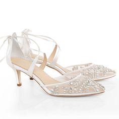 comfortable ivory crystal low heel embellished wedding evening shoes ankle tie #weddingshoes
