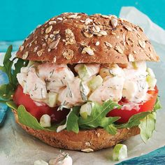 We've taken your classic shrimp salad sandwich and amped up the flavor even more with fresh dill, crunchy celery and Dijon. In our version, Greek yogurt stands in for mayonnaise, providing creamy texture without the fat. Seafood Recipes, New Recipes, Cooking Recipes, Favorite Recipes, Healthy Recipes, Salad Sandwich, Sandwich Recipes, Shrimp Sandwich, Clean Eating Recipes
