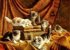 Cornelis Raaphorst(1875-1954)   —  Chatons jouant avec des livres (946x677)