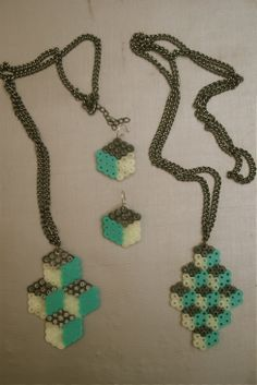 3D Cuboid Necklace and Earrings
