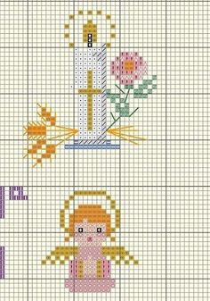 Tiny Cross Stitch, Cross Stitch Borders, Cross Stitching, Cross Stitch Embroidery, Cross Stitch Patterns, Boy Baptism Centerpieces, Faith Crafts, Stitch And Angel, Inkle Weaving