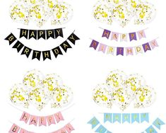 Balon Confetti, 12 Inci, cu Banner Happy Birthday, Decoratiune Balon care ia Forma Floare Steag