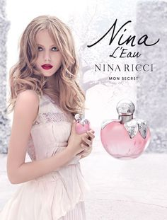 Frida Gustavsson , face of the new fragrance Nina L'Eau