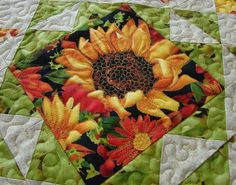 Quilted Table Topper or Wall Hanging Fall Sunflower by susiquilts