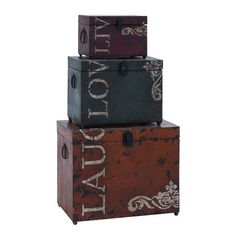 You should see this Live Love Laugh 3 Piece Storage Trunk Set on Daily Sales!