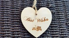 1x Wooden Heart Engraved Rustic Decoration Best Wishes Hanging Shape Unpainted Tag £1.50