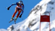 Aksel Lund Svindal jumps during men's Olympic downhill skiing event in Sochi Nbc Olympics, 2018 Winter Olympics, Winter Olympic Games, Tokyo Olympics, Tokyo 2020, Alpine Skiing, Wonder Woman, Superhero, Fictional Characters