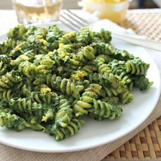 A vegan version of creamy pasta with avocado and spinach.  #foodgawker