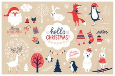 Such cute illustrations! Christmas Characters Set by lenlis on Creative Market