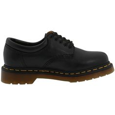 Dr. Martens 8053 ($115) ❤ liked on Polyvore featuring shoes, flats, black nappa, flat lace-up shoes, adjustable shoes, black flat shoes, dr. martens and kohl shoes